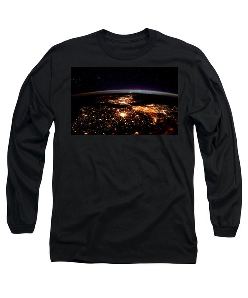 Long Sleeve T-Shirt featuring the photograph Europe At Night, Satellite View by Science Source