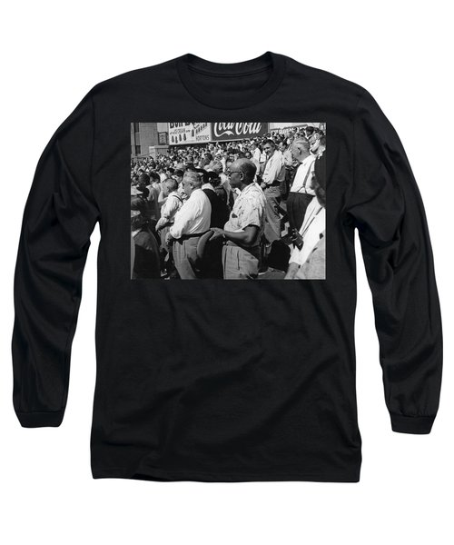 Fans At Yankee Stadium Stand For The National Anthem At The Star Long Sleeve T-Shirt by Underwood Archives