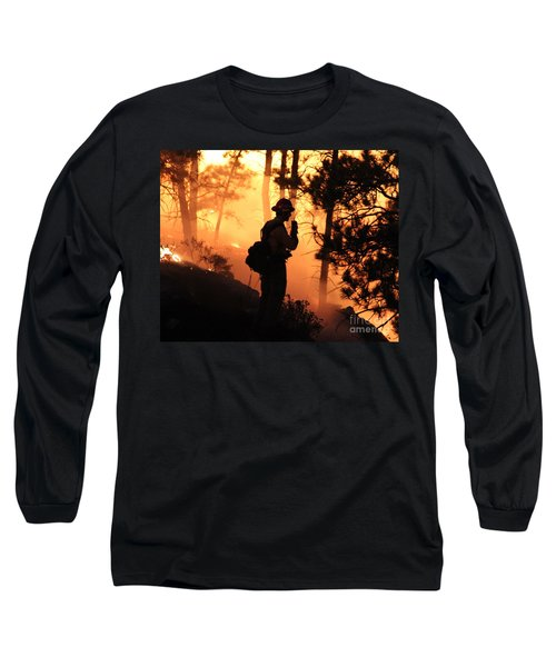 Long Sleeve T-Shirt featuring the photograph Firefighter At Night On The White Draw Fire by Bill Gabbert