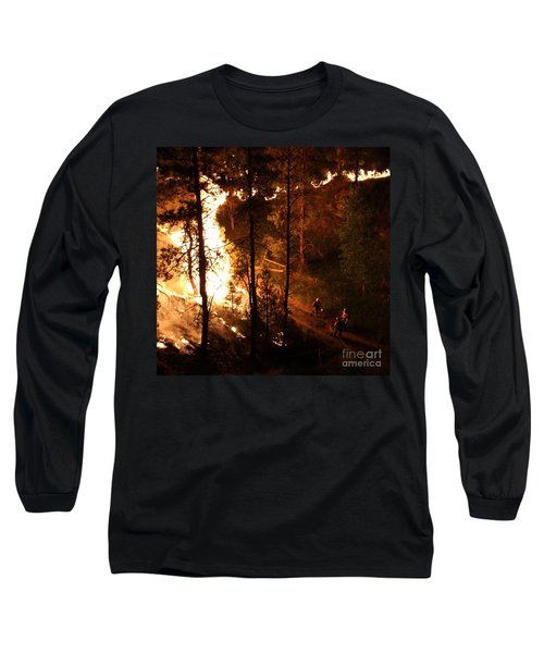 Long Sleeve T-Shirt featuring the photograph Firefighters Burn Out On The White Draw Fire by Bill Gabbert