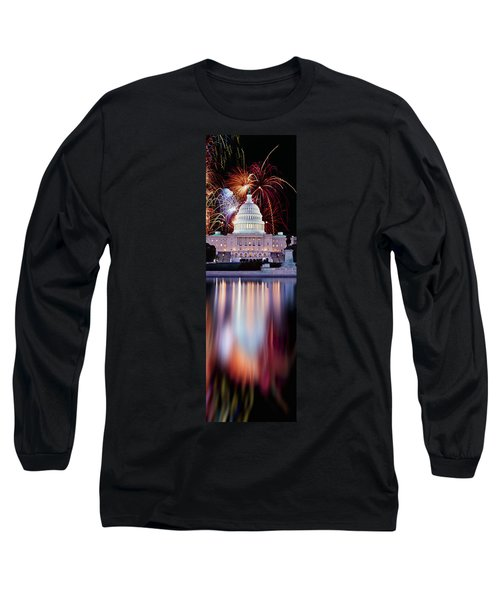 Firework Display Over A Government Long Sleeve T-Shirt by Panoramic Images