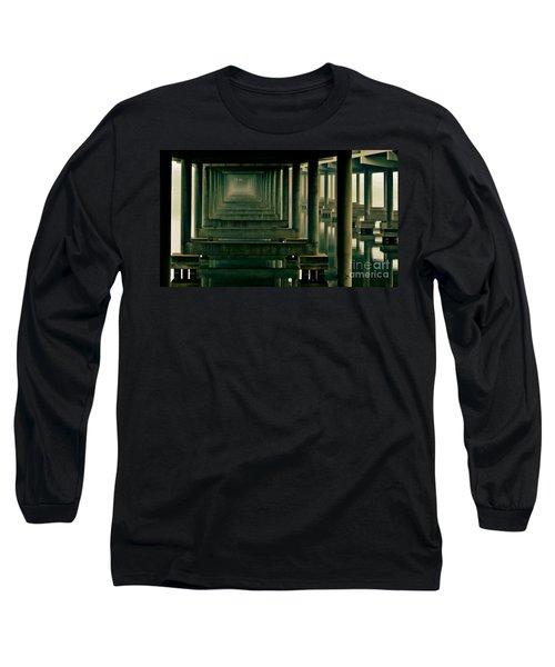 Foggy Morning Under Bridge Long Sleeve T-Shirt by Robert Frederick