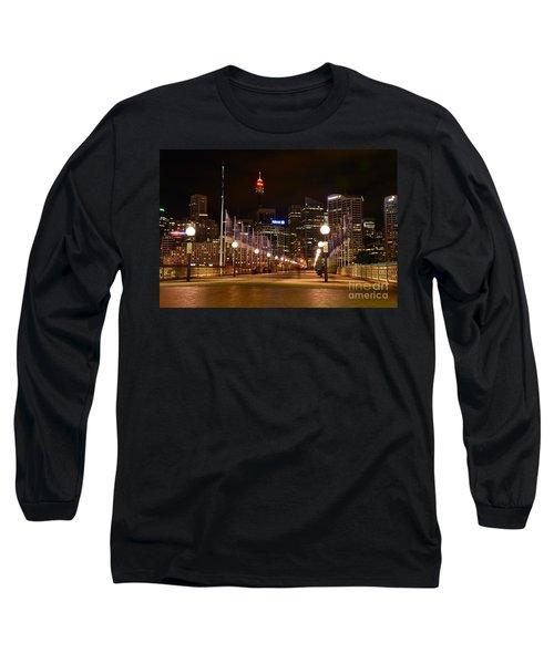 Foot Bridge By Night Long Sleeve T-Shirt by Kaye Menner