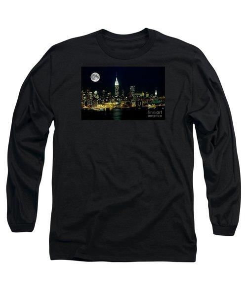 Full Moon Rising - New York City Long Sleeve T-Shirt by Anthony Sacco