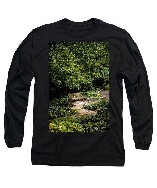 Garden Bench Long Sleeve T-Shirt by Joe Mamer