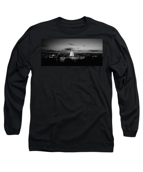 Government Building Lit Up At Night, Us Long Sleeve T-Shirt by Panoramic Images