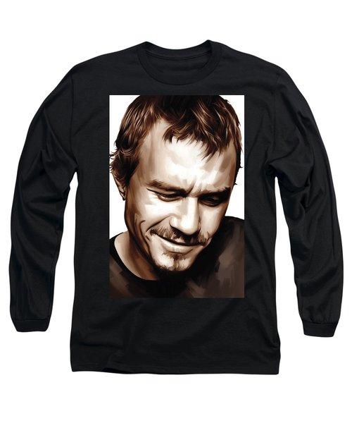 Heath Ledger Artwork Long Sleeve T-Shirt by Sheraz A