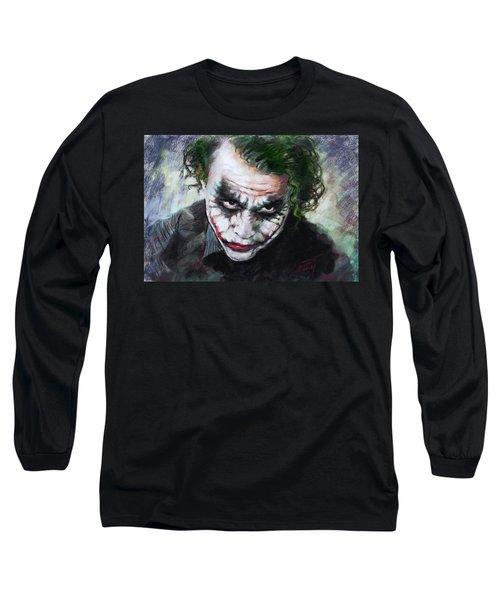 Heath Ledger The Dark Knight Long Sleeve T-Shirt by Viola El