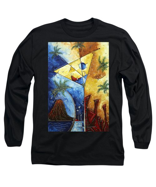 Island Martini  Original Madart Painting Long Sleeve T-Shirt by Megan Duncanson
