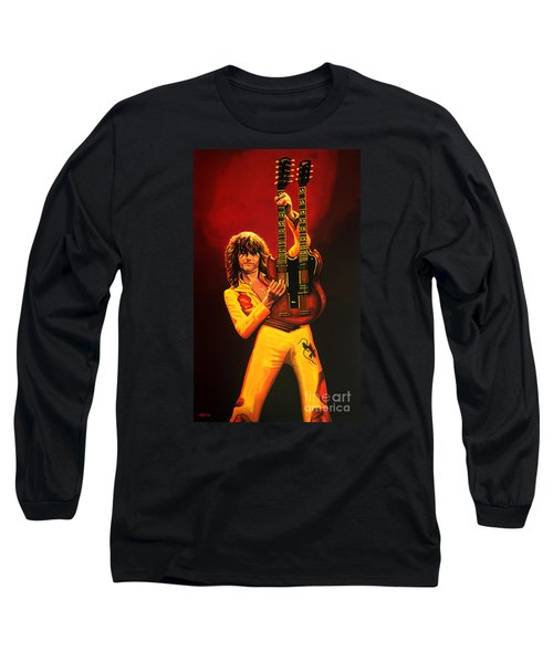 Jimmy Page Painting Long Sleeve T-Shirt by Paul Meijering