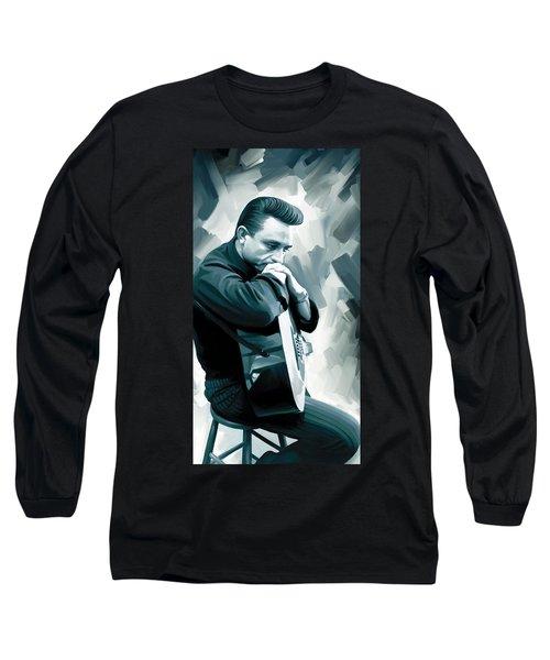 Johnny Cash Artwork 3 Long Sleeve T-Shirt by Sheraz A