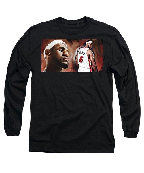 Lebron James Artwork 2 Long Sleeve T-Shirt by Sheraz A