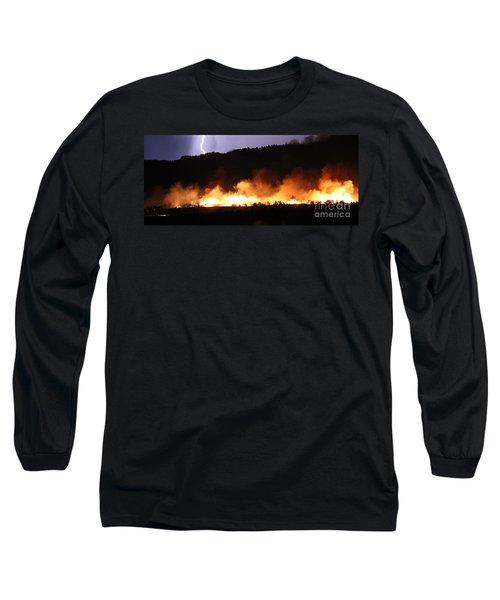 Long Sleeve T-Shirt featuring the photograph Lightning During Wildfire by Bill Gabbert