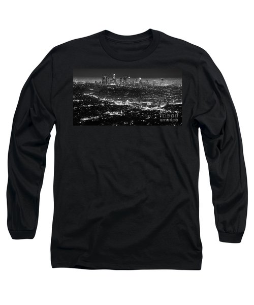 Los Angeles Skyline At Night Monochrome Long Sleeve T-Shirt by Bob Christopher