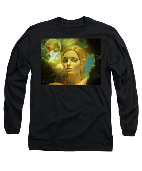 Luna In The Garden Of Evil Long Sleeve T-Shirt by Chuck Staley