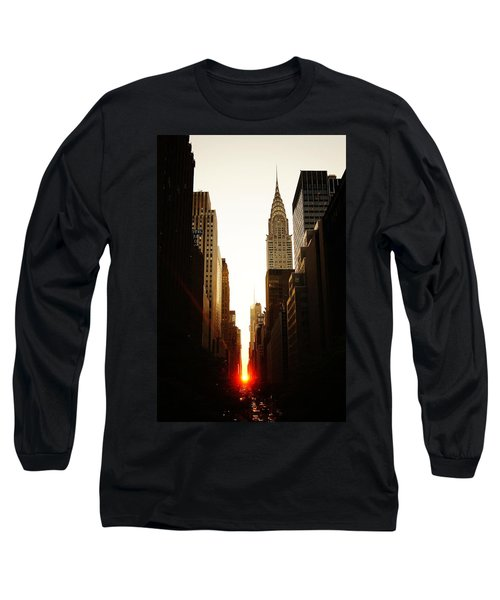 Manhattanhenge Sunset And The Chrysler Building  Long Sleeve T-Shirt by Vivienne Gucwa