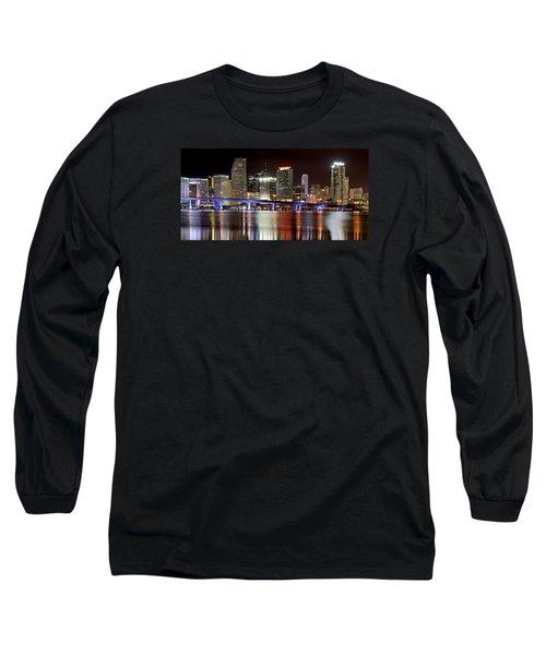 Miami Skyline Long Sleeve T-Shirt by Brendan Reals