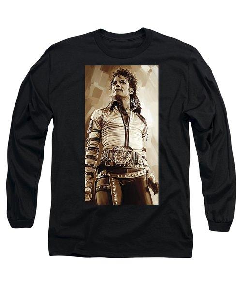 Michael Jackson Artwork 2 Long Sleeve T-Shirt by Sheraz A
