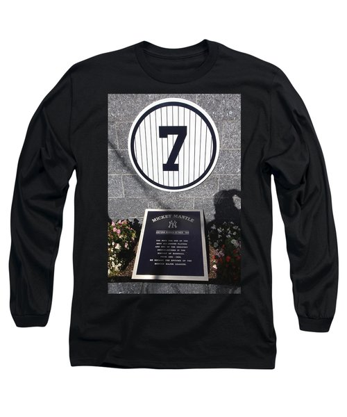 Mickey Mantle Long Sleeve T-Shirt by Allen Beatty