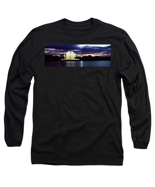 Monument Lit Up At Dusk, Jefferson Long Sleeve T-Shirt by Panoramic Images