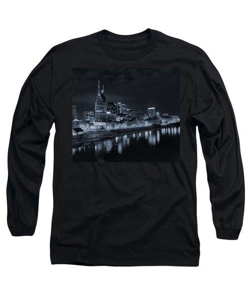 Nashville Skyline At Night Long Sleeve T-Shirt by Dan Sproul