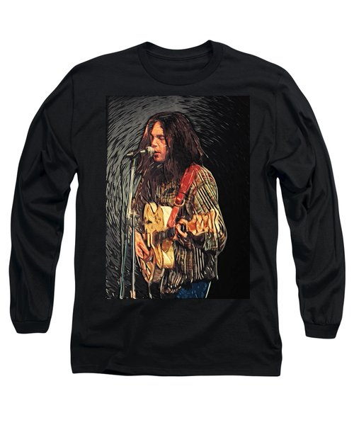 Neil Young Long Sleeve T-Shirt by Taylan Soyturk