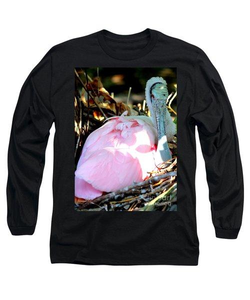 Nesting Spoonbill Long Sleeve T-Shirt by Carol Groenen