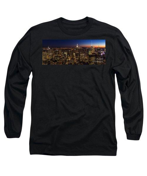 New York City Skyline At Dusk Long Sleeve T-Shirt by Mike Reid