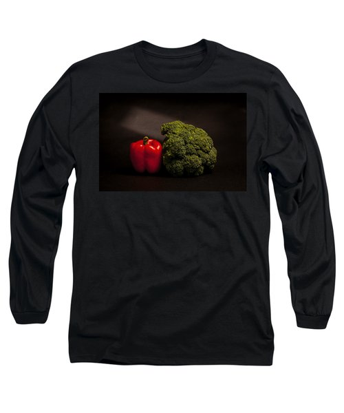 Pepper Nd Brocoli Long Sleeve T-Shirt by Peter Tellone