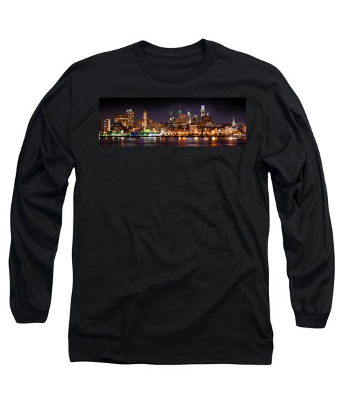 Philadelphia Philly Skyline At Night From East Color Long Sleeve T-Shirt by Jon Holiday