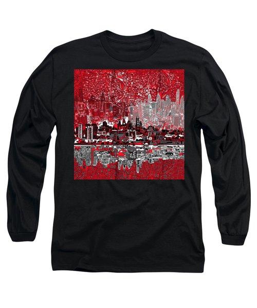 Philadelphia Skyline Abstract 4 Long Sleeve T-Shirt by Bekim Art