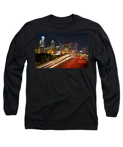 Philadelphia Skyline At Night In Color Car Light Trails Long Sleeve T-Shirt by Jon Holiday