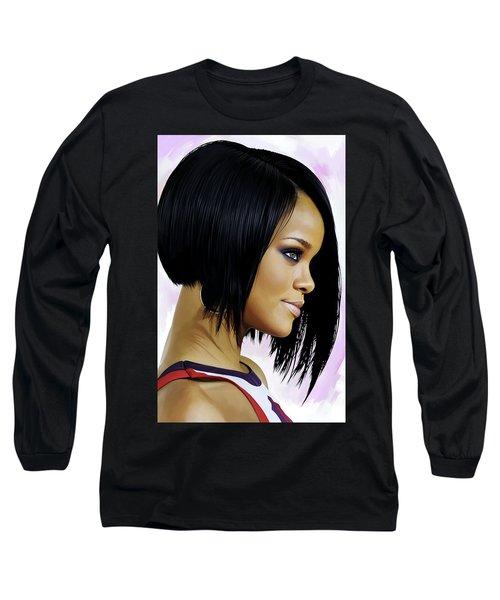 Rihanna Artwork Long Sleeve T-Shirt by Sheraz A