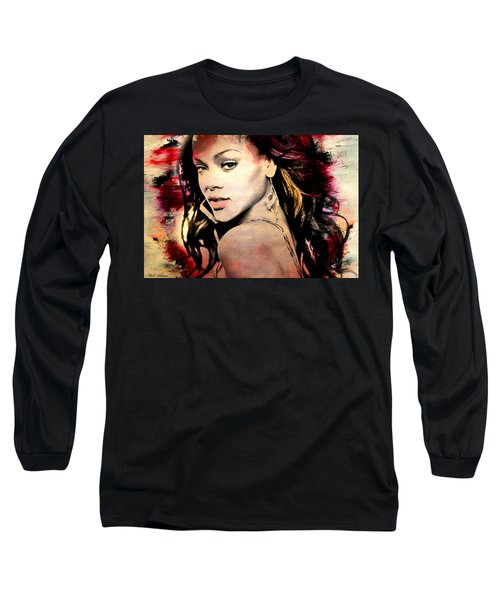 Rihanna Long Sleeve T-Shirt by Mark Ashkenazi