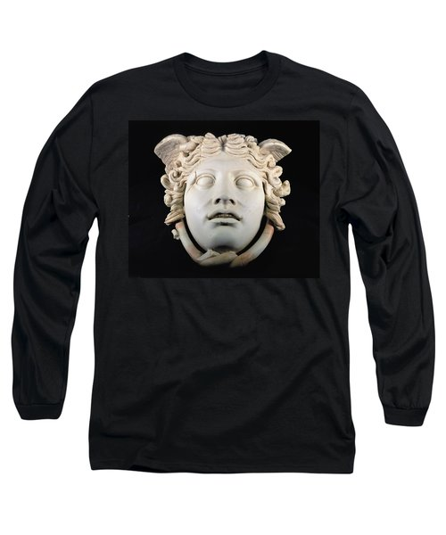 Rondanini Medusa, Copy Of A 5th Century Bc Greek Marble Original, Roman Plaster Long Sleeve T-Shirt by .