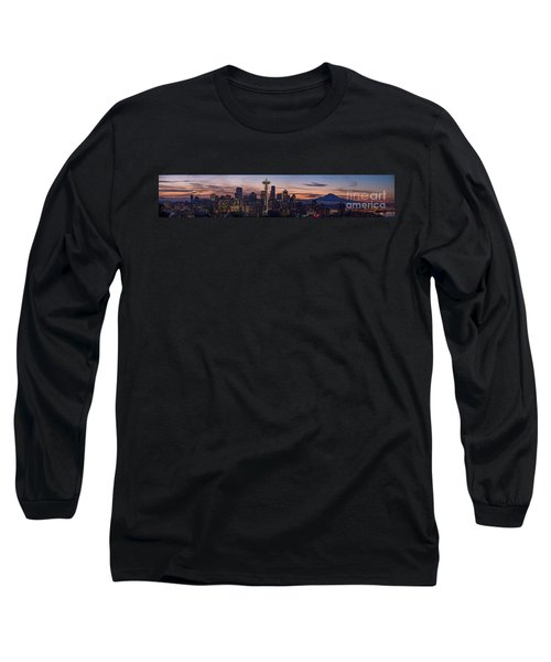 Seattle Cityscape Morning Light Long Sleeve T-Shirt by Mike Reid