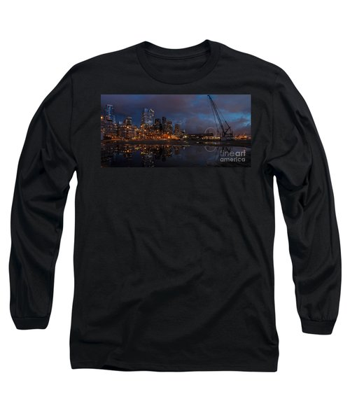 Seattle Night Skyline Long Sleeve T-Shirt by Mike Reid