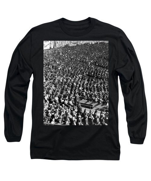 Baseball Fans At Yankee Stadium In New York   Long Sleeve T-Shirt by Underwood Archives