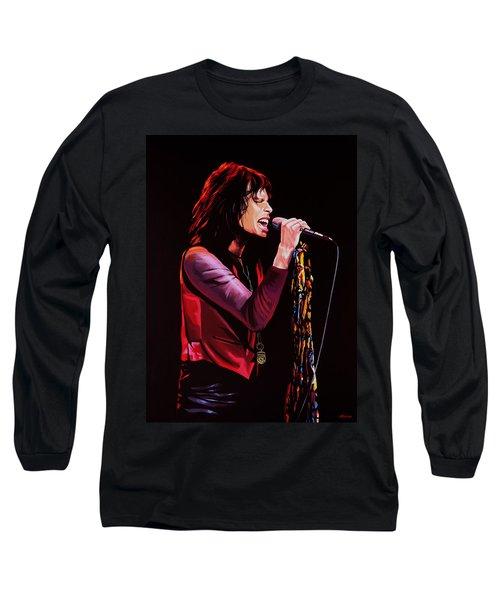 Steven Tyler In Aerosmith Long Sleeve T-Shirt by Paul Meijering
