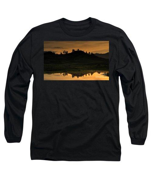 Long Sleeve T-Shirt featuring the photograph Sunrise Behind A Yellowstone Ridge by Bill Gabbert