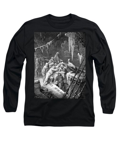 The Albatross Being Fed By The Sailors On The The Ship Marooned In The Frozen Seas Of Antartica Long Sleeve T-Shirt by Gustave Dore