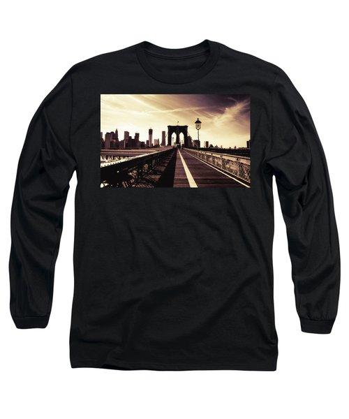 The Brooklyn Bridge - New York City Long Sleeve T-Shirt by Vivienne Gucwa