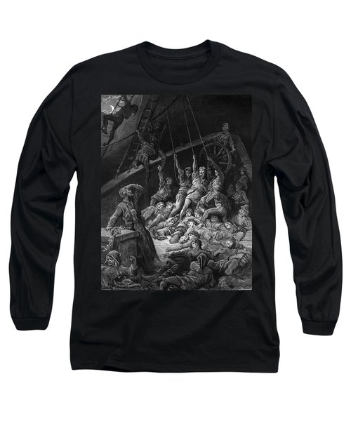The Dead Sailors Rise Up And Start To Work The Ropes Of The Ship So That It Begins To Move Long Sleeve T-Shirt by Gustave Dore