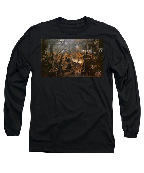 The Iron-rolling Mill Oil On Canvas, 1875 Long Sleeve T-Shirt by Adolph Friedrich Erdmann von Menzel