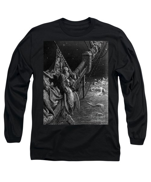 The Mariner Gazes On The Serpents In The Ocean Long Sleeve T-Shirt by Gustave Dore