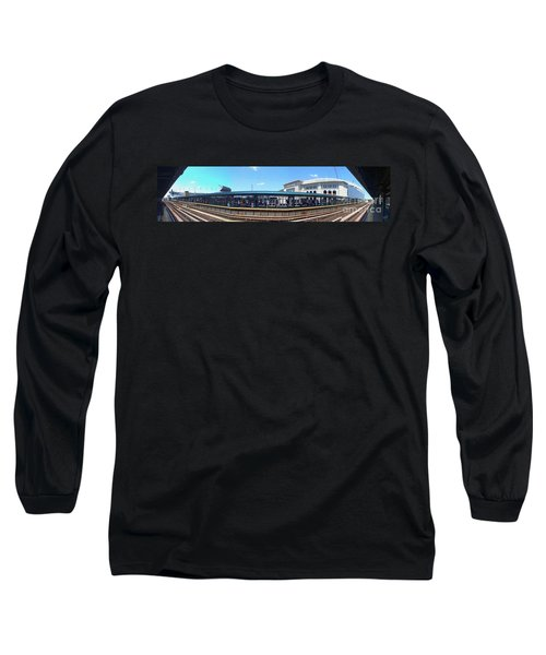 The Old And New Yankee Stadiums Panorama Long Sleeve T-Shirt by Nishanth Gopinathan