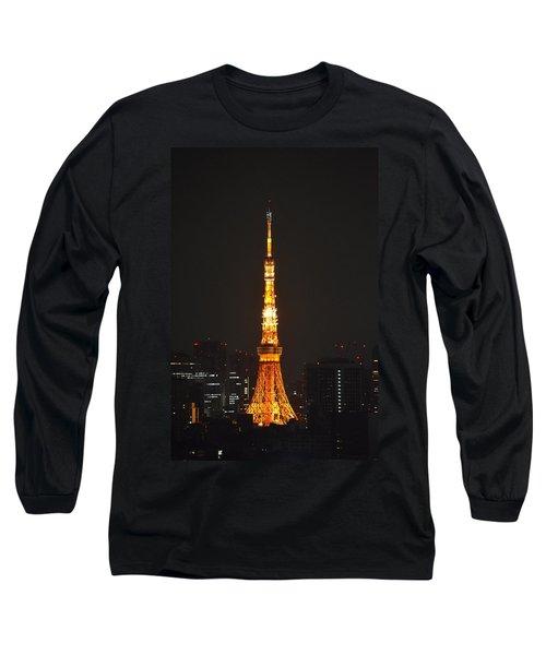 Tokyo Tower And Skyline At Night From Shinagawa Long Sleeve T-Shirt by Jeff at JSJ Photography
