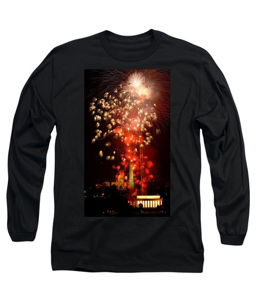 Usa, Washington Dc, Fireworks Long Sleeve T-Shirt by Panoramic Images