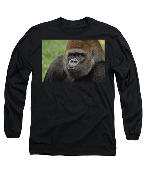 Western Lowland Gorilla Silverback Long Sleeve T-Shirt by Gerry Ellis