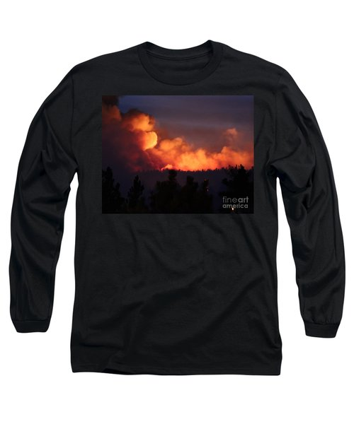 Long Sleeve T-Shirt featuring the photograph White Draw Fire First Night by Bill Gabbert